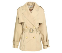 Double-breasted Cotton-blend Trench Coat Sand