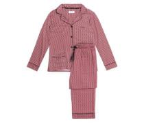 Striped cotton-blend poplin pajama set