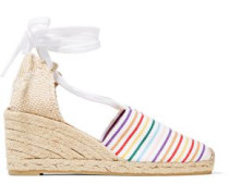 Lace-up striped canvas wedge espadrilles