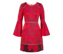 Corded lace-paneled metallic jacquard mini dress