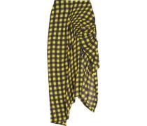 Asymmetric Ruched Gingham Silk Midi Skirt Yellow
