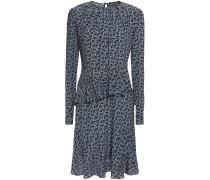 Woman Julia Ruffled Floral-print Silk-crepe Mini Dress Light Blue