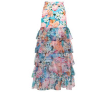 Tiered Floral-print Cady And Organza Maxi Skirt Multicolor