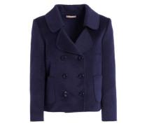Double-breasted wool, angora and cashgora-blend coat