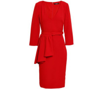 Belted Ruffled Stretch-crepe Dress Claret
