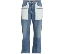 Two-tone faded high-rise straight-leg jeans