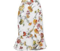 Asymmetric Fluted Matelassé Floral-jacquard Skirt White