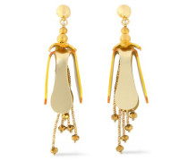Gold-tone, Bead And Resin Earrings Gold Size --