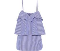 Tiered striped cotton-poplin camisole