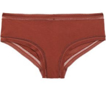 Crochet-trimmed Cotton-jersey Mid-rise Thong Brown  /M
