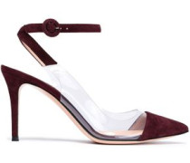 Anise suede and Perspex pumps