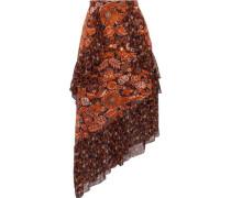 Printed Fil Coupé And Silk-chiffon Skirt Orange Size 0