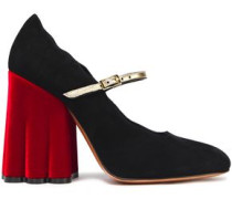 Scalloped Suede Mary Jane Pumps Black