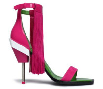 Fringed Suede And Patent-leather Sandals Fuchsia