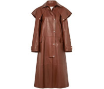 Cape-effect leather coat