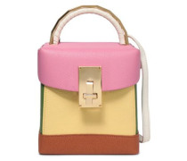 Color-block textured-leather shoulder bag