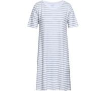 Metallic Striped Linen-blend Jersey Mini Dress White