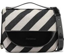 Moon Large Striped Canvas, Glossed-leather And Suede Shoulder Bag Black Size --
