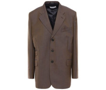 Oversized Iridescent-effect Wool And Mohair-blend Blazer Brown