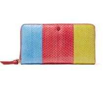 Color-block snake-effect leather wallet