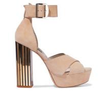 Lianna Suede Platform Sandals Beige