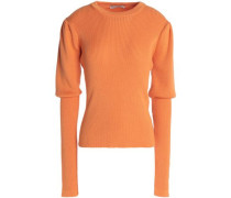 Ribbed merino wool, silk and cashmere-blend sweater