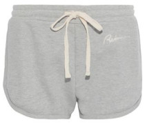 Embroidered French Cotton-terry Shorts Stone