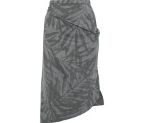 Asymmetric Printed Stretch-wool Skirt Gray Size 0