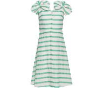 Bow-embellished Striped Linen-blend Dress White