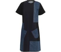 Patchwork Cotton-terry And Denim Mini Dress Indigo
