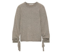 Ruched Mélange Cashmere Sweater Mushroom