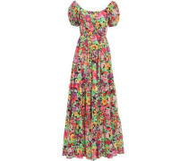 Bardot Gathered Floral-print Stretch-cotton Poplin Maxi Dress Leaf Green