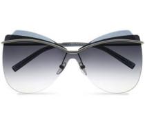 Oversized glittered gunmetal-tone sunglasses