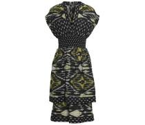 Shirred Printed Silk And Cotton-blend Dress Black