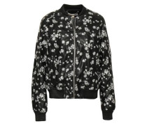Embroidered Faux Leather Bomber Jacket Black