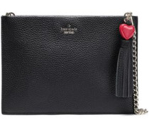 Tasseled Textured-leather Pouch Black Size --