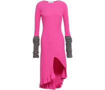 Metallic-trimmed Split-front Ribbed-knit Mini Dress Pink