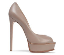 Leather Peep-toe Platform Pumps Taupe