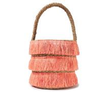 Woman Lolita Mini Fringed Woven Straw Tote Coral