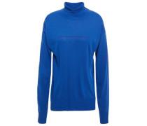 Woman Knitted Turtleneck Sweater Cobalt Blue