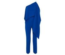 One-shoulder draped crepe jumpsuit