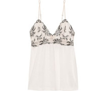 Paloma Embroidered Lace-paneled Jersey Camisole Off-white