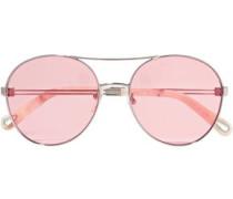 Aviator-style Silver-tone Sunglasses Silver Size --