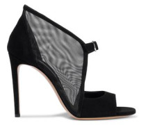 Mesh and suede sandals