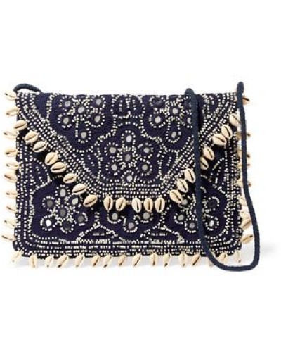 Embellished embroidered cotton-canvas clutch