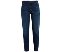 Faded high-rise slim-leg jeans