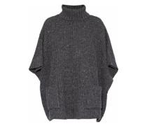 Ribbed-knit Poncho Dark Gray