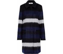 Striped brushed wool-blend coat