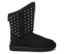 Studded Shearling Boots Black