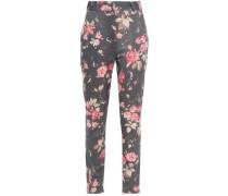 Floral-print Wool-blend Twill Slim-leg Pants Dark Gray Size 0